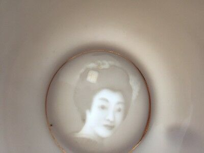 Lithophane Japanese Tea Cup Face in Base Porcelain in White/Gold Illustrations