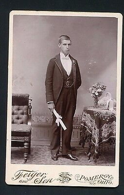 Cabinet Card Photograph Graduation Young Man Pomeroy OHIO photo w/ fancy back