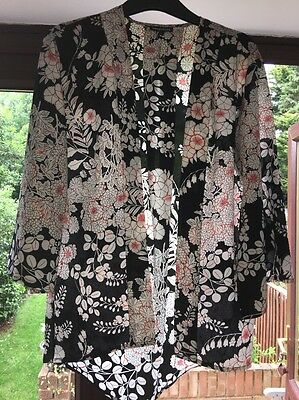 Ladies Warehouse Black Floral Lightweight Jacket Size Small 8-10