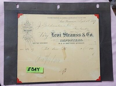Levi Strauss and Co San Francisco Receipt J Goldwater n Co 1889  HS
