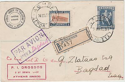 Greece 1930 Imperial Airways Flight Cover To Baghdad
