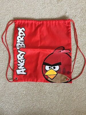 ANGRY BIRDS RED PE GYM SWIMMING SPORTS DRAWSTRING BAG with BACK VENT
