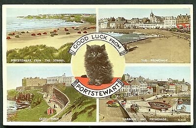 Co. LONDONDERRY - PORTSTEWART MULTIVIEW POSTCARD - POSTED 1950s