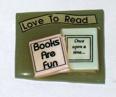 VINTAGE Lucinda Jewelry Pin Brooch LOVE TO READ