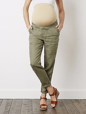 Colline by Vertbaudet Linen  Maternity Over Bump Trousers size 6 Khaki #MY214