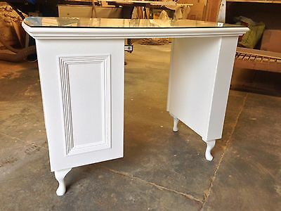 Manicure Table/ Nail Station - French style, shabby chic 3 drawer with glass top