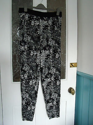 Next stretch jersey Harem trousers black & white floral with pockets size 14