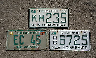 1973 1974 & 1981 New Hampshire License Plate LOT OF 3