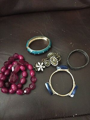 Lot Of Seven Costume Jewelry Bangles And Bracelets