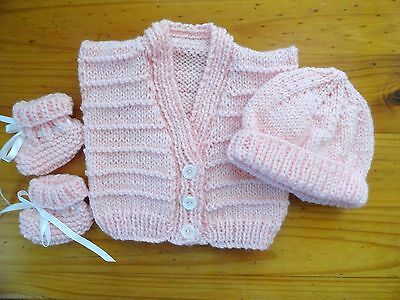 Baby Hand Knitted Vest / Beanie & Booties In Light Pink