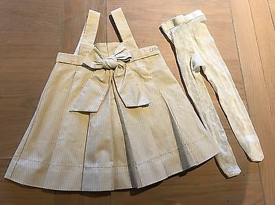 Chloe Baby Girls Pinstripe Dress Bow Pinafore Tights 3 Months