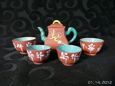 Old Chinese Yixing Teapot Bamboo with Cups