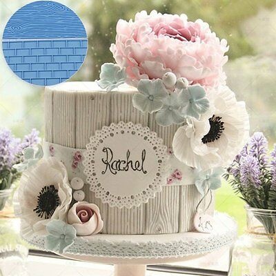 Wood Brick Wall Silicone Fondant Sugarpaste Mould Cake Decorating pastry jello