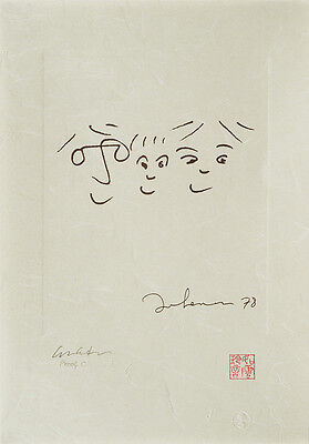 """John Lennon Limited Edition Print """"A HAPPY LIFE"""" Signed by Yoko Ono, Bag One!"""