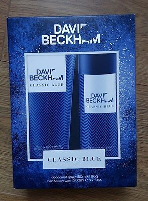 DAVID BECKHAM CLASSIC BLUE CONTAINS HAIR & BODY WASH 200ml & DEODORANT 150ml NEW