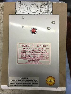 PHASE-A-MATIC PAM-300HD Phase Converter,Static,1-3 HP