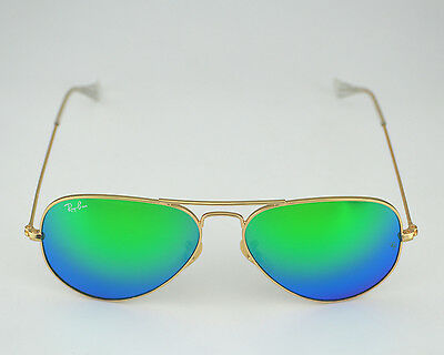 Ray Ban RB3025 Aviator Flash Lenses 112/19 Gold Frame/Green Lens Sunglasses 55mm