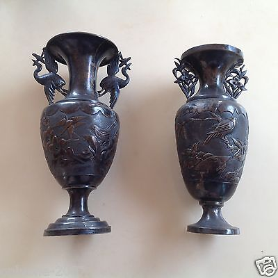 Antique Pair Of Chinese Silver Vase, China 18 Century!