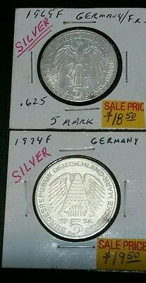 Germany -5 Mark Silver 2 Coins (1969 F & 1974 F )....nice Coins!