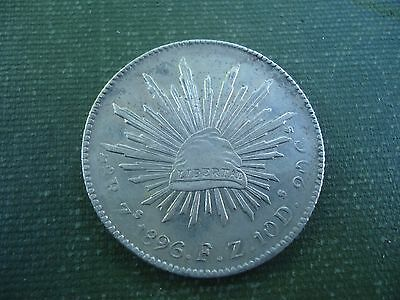 Mexico - 1896 Zs 8 Reales - Silver Crown - Interesting Chopmark
