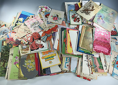 VINTAGE CARD LOT GIANT 18+POUNDS 1000+Pcs Holidays Kids Babies Animals '30-80s