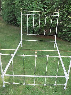 Beautiful Antique  Cast/ Wrought Iron Brass Full Size Bed From 1900's French