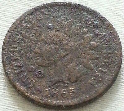 1865 Indian Head Cent 1c Dents Dings Rough Surface