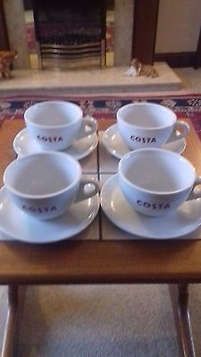 4 x Costa Coffee Primo Cups & Saucers 12oz Brand New Available Authentic