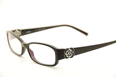 New Authentic Chanel 3131 c.501 Black/Silver Camellia 51mm Eyeglasses RX Italy