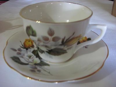 Rosina Bone China  Cup And Saucer England   White/white/yellow Roses