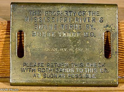 Mississippi River and Bonne Terre Ry - Brass BAGGAGE TAG