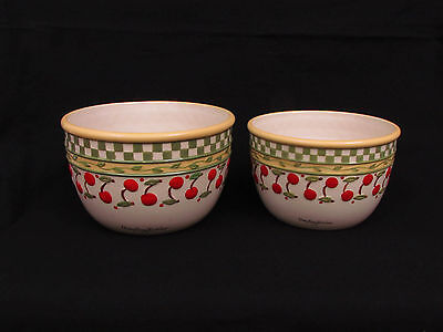 2 Mary Engelbreit Cherry Jubilee Serving Bowls Large & Med