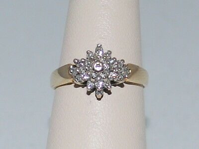 14k Gold ring with cluster of diamonds