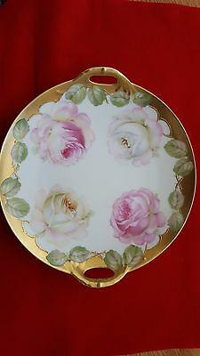 Antique PT Bavarian Hand Painted Cake Plate with Handles