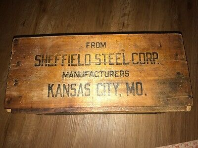 Wood Crate, Antique circa 1930s-WWII Sheffield Steel Kansas City MO