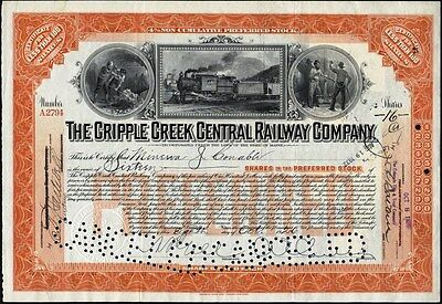Cripple Creek Central Railway Co, 1926, Preferred Colorado Stock Certificate
