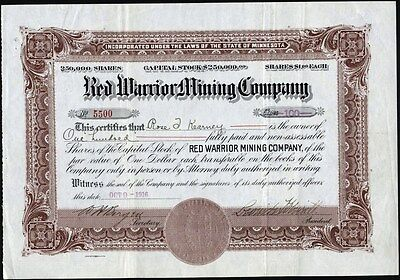 Red Warrior Mining Co, 1916, Minnesota, Uncancelled Stock Certificate