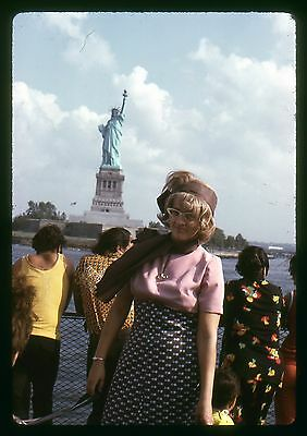 Original 35mm slide 1975 Woman posing by the Statue of Liberty