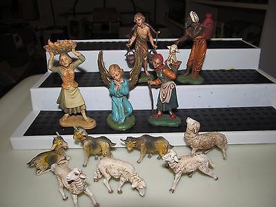 "VINTAGE FONTANINI DEPOSE ITALY 4""  NATIVITY FIGURES w/ SPIDER MARK"