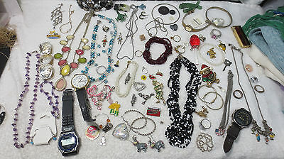 Huge Lot 70+ Pcs Jewelry Necklaces Earrings Pins Watches Rings Silver Bracelets