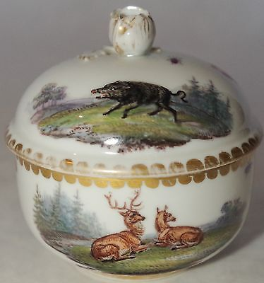 1815 Meissen Sugar Bowl ~ Stag And Boar ~ Hand Painted Original German Porcelain