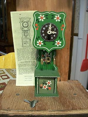 Vintage Rare Green Miniature Grandfather/Cuckoo Clock            Germany