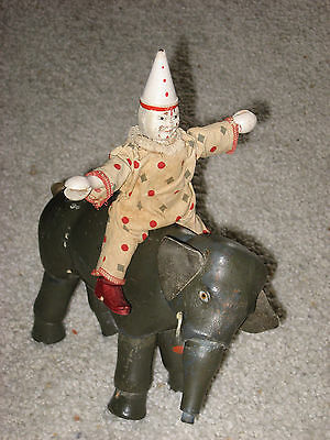 Schoenhut Circus Full Size Elephant And Reduced Size Clown Humpty Dumpty 1920's