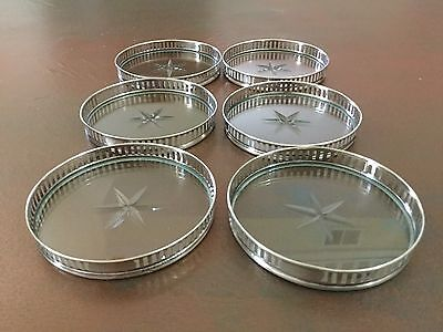 6 Antique Sterling Silver Coasters , Heavy & In Great Condition . Not Stackable