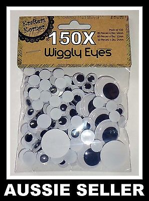150pcs WHITE/BLACK Jiggle Moveable Wiggly Google Googly Craft Eyes Scrapbooking