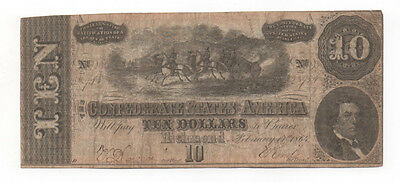 Nice Civil War Confederate CSA T-68 $10 Note Obsolete Currency Horses Cannon VA