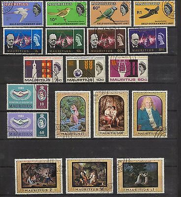 Mauritius 5 full sets , 19 different used stamps - VF