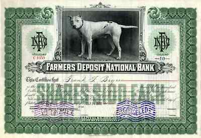 1917 Farmer's Deposit National Bank Stock Certificate with vignette of Prince