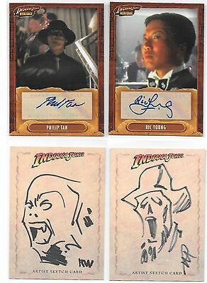 2004 Indiana Jones Heritage Autograph and Sketch Lot (4 cards)