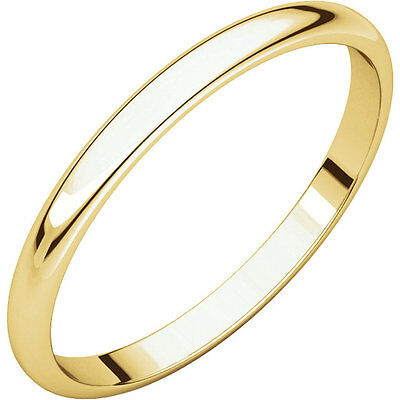 2.5mm 14K Solid Yellow Gold Dome Half Round Comfort Fit Wedding Band Ring Size 5